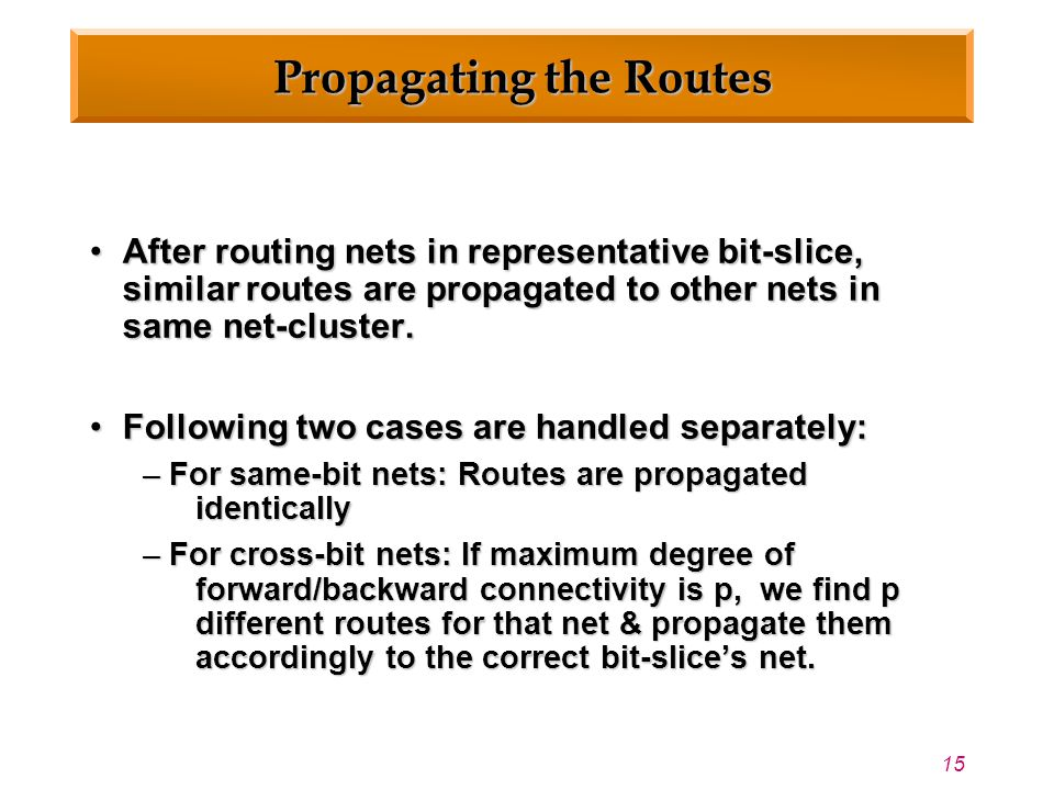 15 Propagating the Routes After routing nets in representative bit-slice, similar routes are propagated to other nets in same net-cluster.After routing nets in representative bit-slice, similar routes are propagated to other nets in same net-cluster.