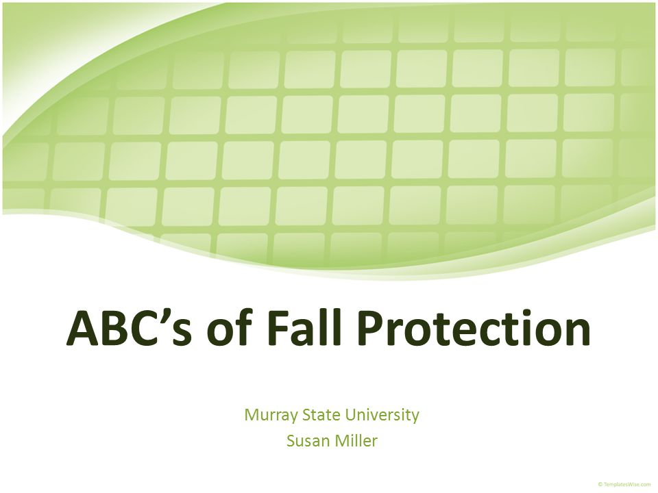 ABC's of Fall Protection Murray State University Susan Miller