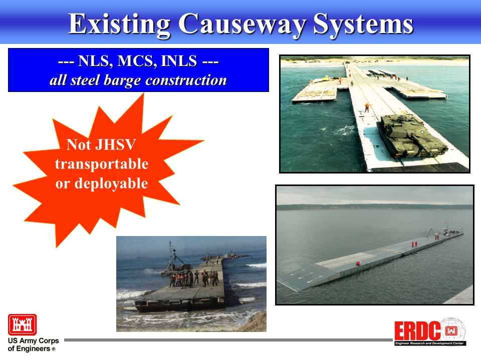 Existing Causeway Systems --- NLS, MCS, INLS --- all steel barge construction Not JHSV transportable or deployable