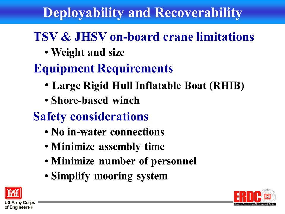 Primary Deployment Option Continuous feed from rear of JHSV off ramp or rail system Deploy Unstiffened Units Draw units together and stiffen section (see details) Lightweight deployment Ramp w/ floating support Deployment Boat or shore winch or anchor JHSV