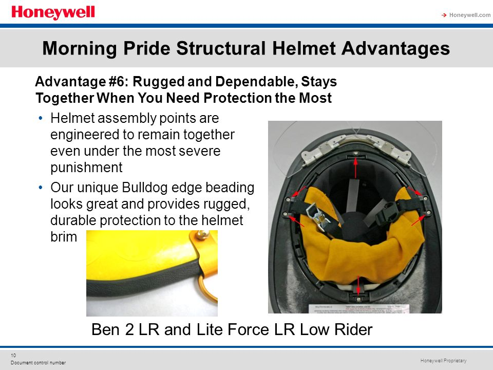 Honeywell Proprietary Honeywell.com  10 Document control number Morning Pride Structural Helmet Advantages Helmet assembly points are engineered to remain together even under the most severe punishment Our unique Bulldog edge beading looks great and provides rugged, durable protection to the helmet brim Advantage #6: Rugged and Dependable, Stays Together When You Need Protection the Most Ben 2 LR and Lite Force LR Low Rider