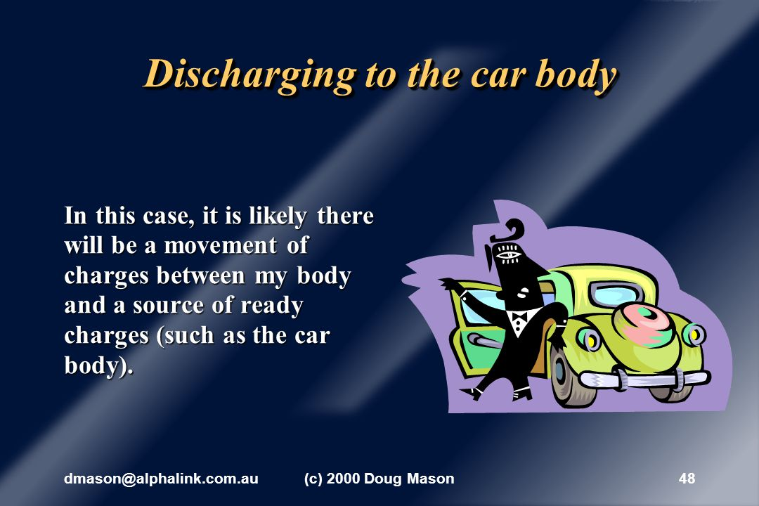 dmason@alphalink.com.au(c) 2000 Doug Mason47 Not discharging before leaving n However, if I touch only non- conductors as I leave the car, the charge distribution continues on my body for as long as the charge imbalance remains on the outer surface of my clothing.