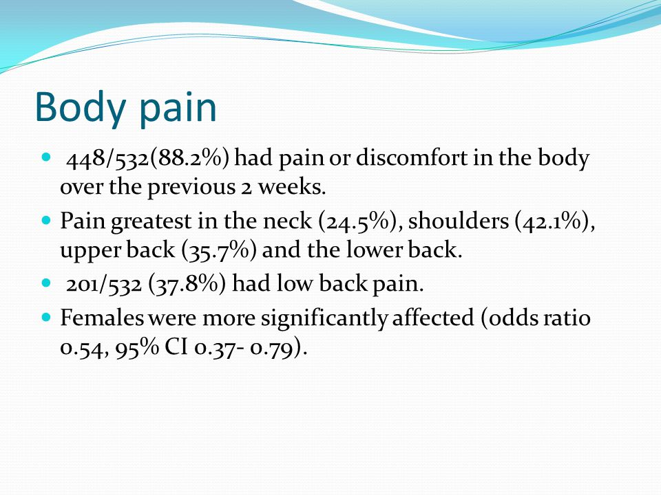 Body pain 448/532(88.2%) had pain or discomfort in the body over the previous 2 weeks. Pain greatest in the neck (24.5%), shoulders (42.1%), upper bac
