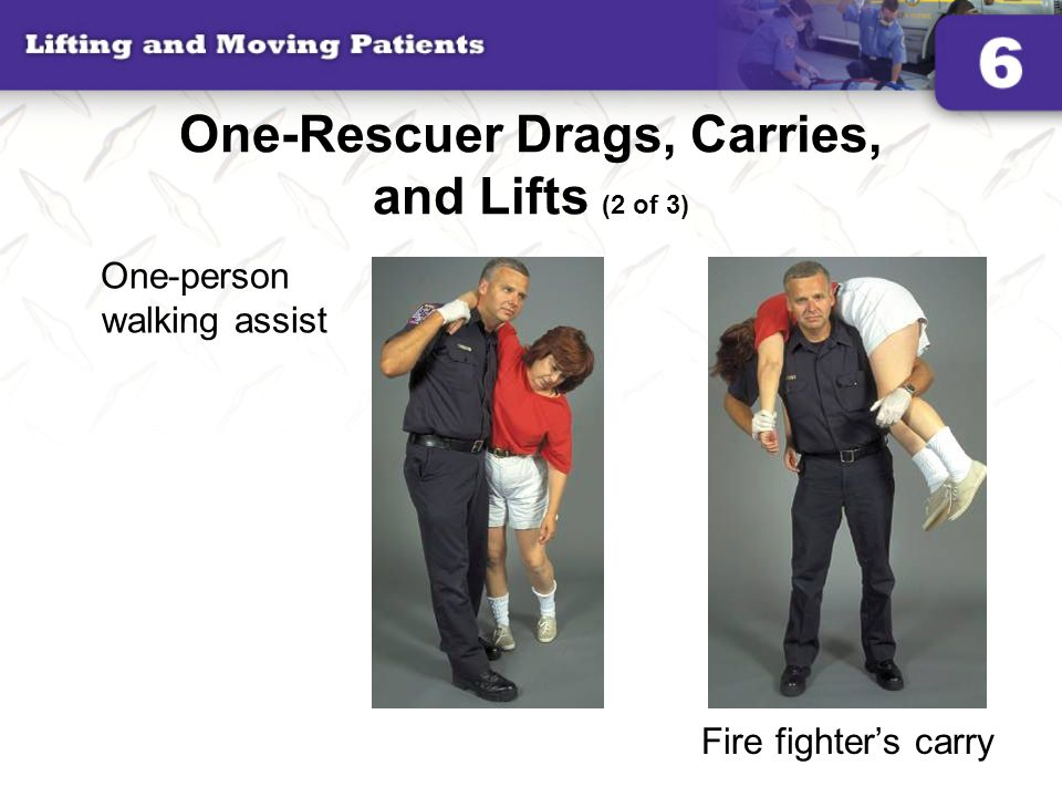 One-Rescuer Drags, Carries, and Lifts (2 of 3) One-person walking assist Fire fighter's carry