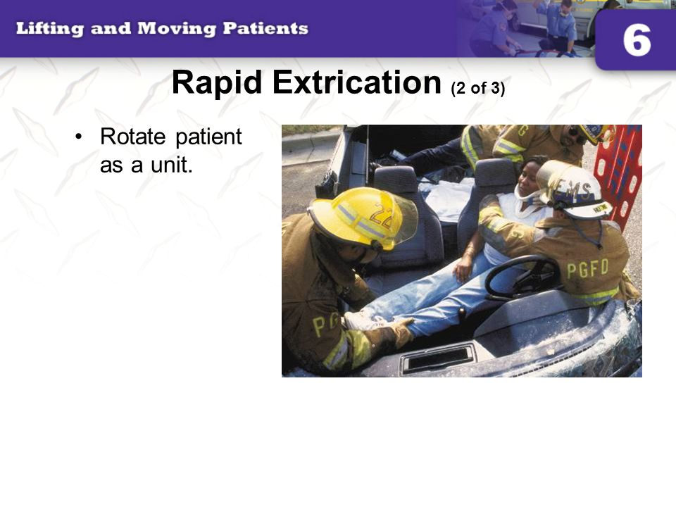 Rapid Extrication (2 of 3) Rotate patient as a unit.