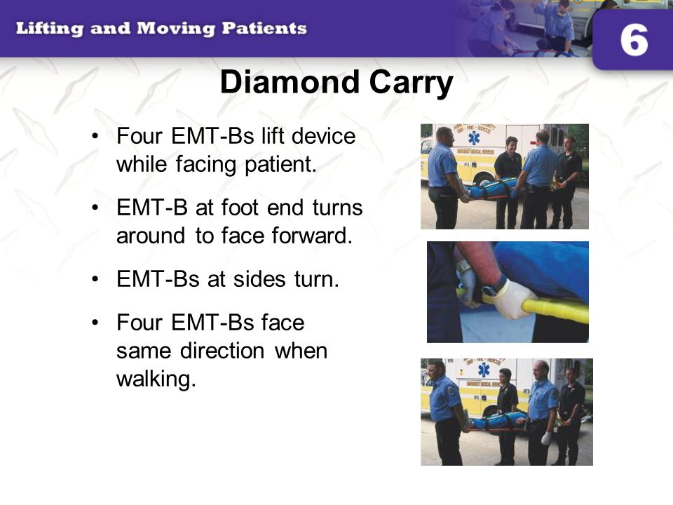 Diamond Carry Four EMT-Bs lift device while facing patient. EMT-B at foot end turns around to face forward. EMT-Bs at sides turn. Four EMT-Bs face sam