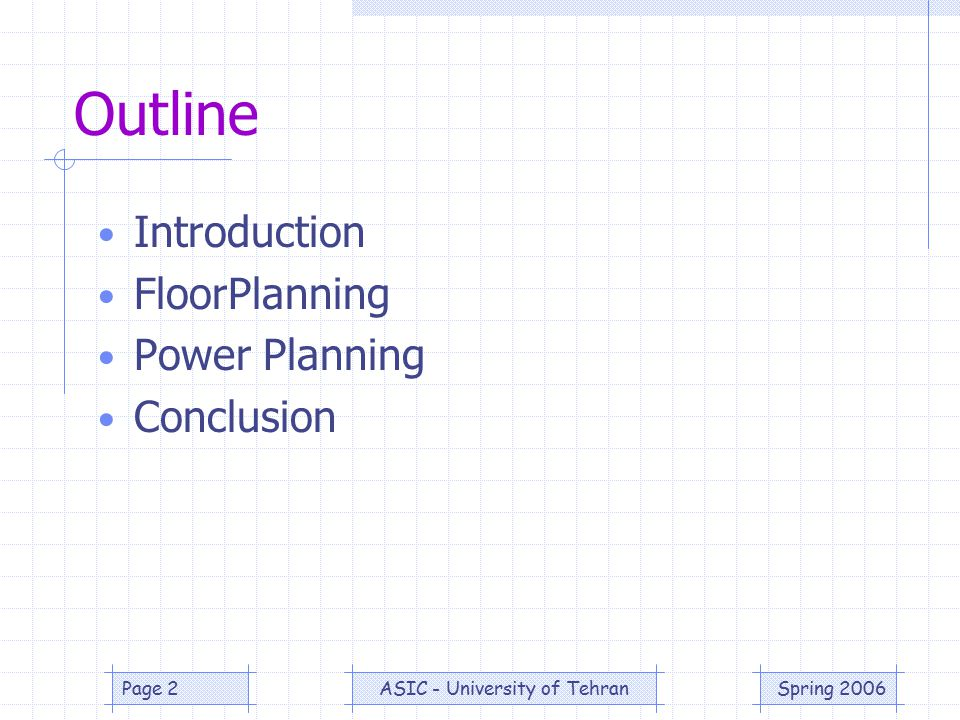 Spring 2006ASIC - University of TehranPage 3 Outline Introduction FloorPlanning Power Planning Conclusion