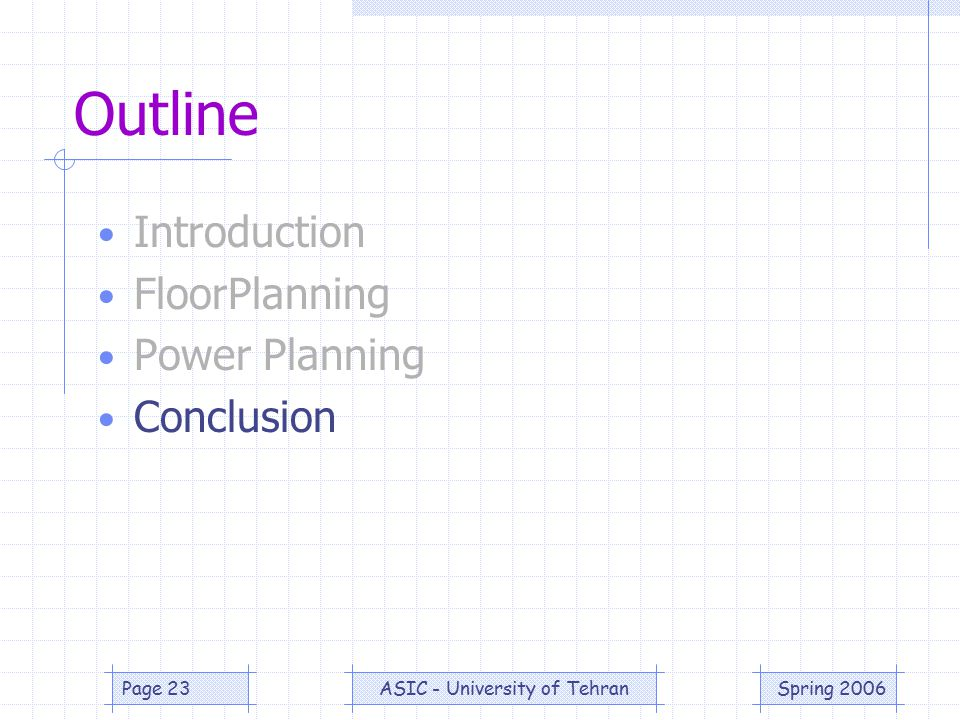 Spring 2006ASIC - University of TehranPage 23 Outline Introduction FloorPlanning Power Planning Conclusion