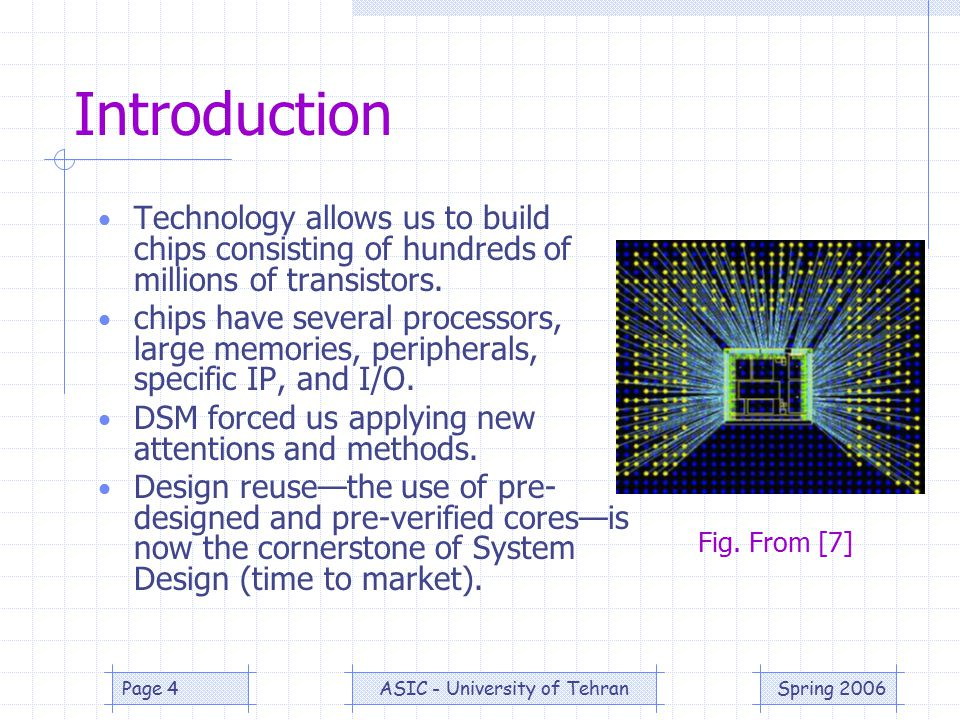 Spring 2006ASIC - University of TehranPage 4 Introduction Technology allows us to build chips consisting of hundreds of millions of transistors.