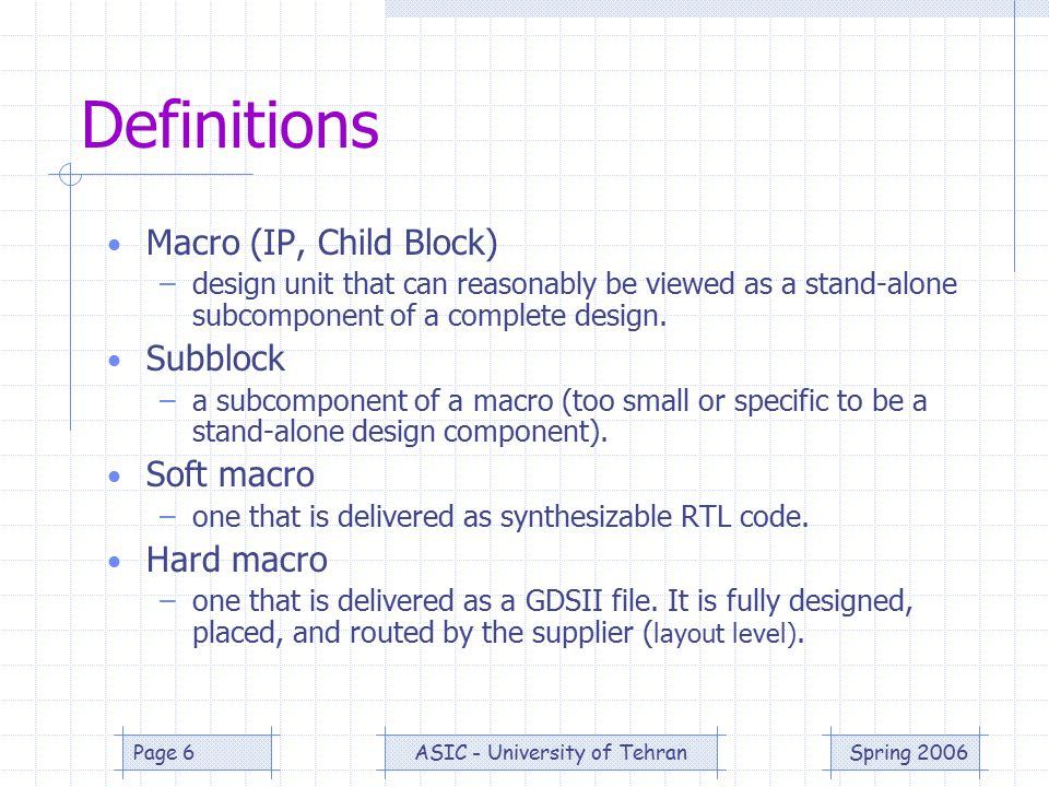 Spring 2006ASIC - University of TehranPage 6 Definitions Macro (IP, Child Block) –design unit that can reasonably be viewed as a stand-alone subcomponent of a complete design.