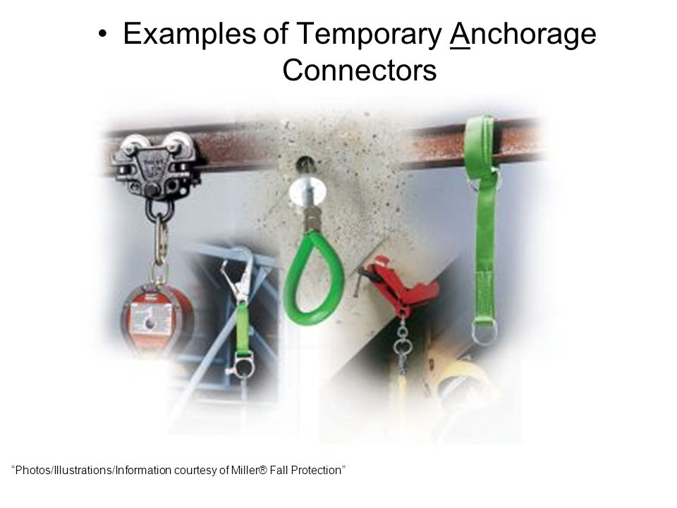 "Examples of Temporary Anchorage Connectors ""Photos/Illustrations/Information courtesy of Miller® Fall Protection"""