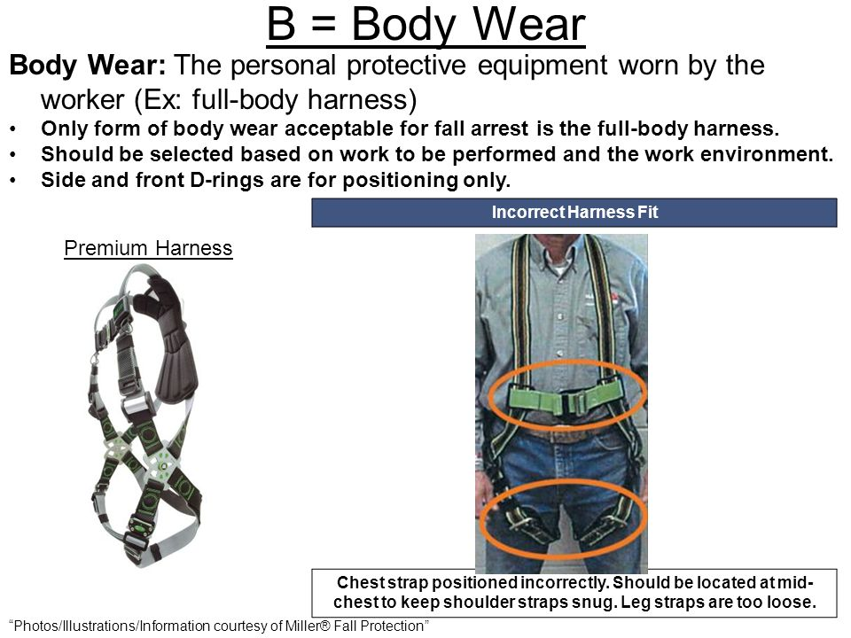 B = Body Wear Body Wear: The personal protective equipment worn by the worker (Ex: full-body harness) Only form of body wear acceptable for fall arres