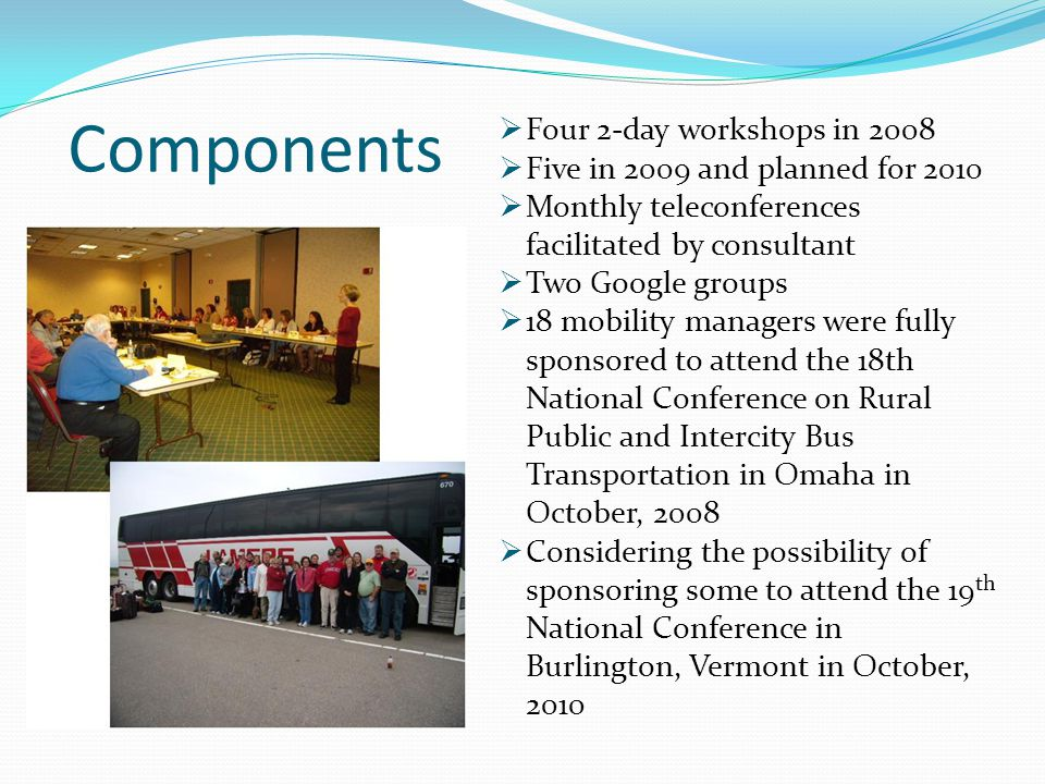 Components  Four 2-day workshops in 2008  Five in 2009 and planned for 2010  Monthly teleconferences facilitated by consultant  Two Google groups  18 mobility managers were fully sponsored to attend the 18th National Conference on Rural Public and Intercity Bus Transportation in Omaha in October, 2008  Considering the possibility of sponsoring some to attend the 19 th National Conference in Burlington, Vermont in October, 2010