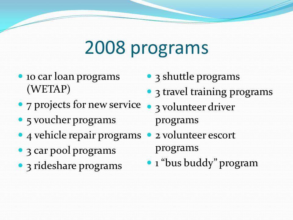 2008 programs 10 car loan programs (WETAP) 7 projects for new service 5 voucher programs 4 vehicle repair programs 3 car pool programs 3 rideshare programs 3 shuttle programs 3 travel training programs 3 volunteer driver programs 2 volunteer escort programs 1 bus buddy program