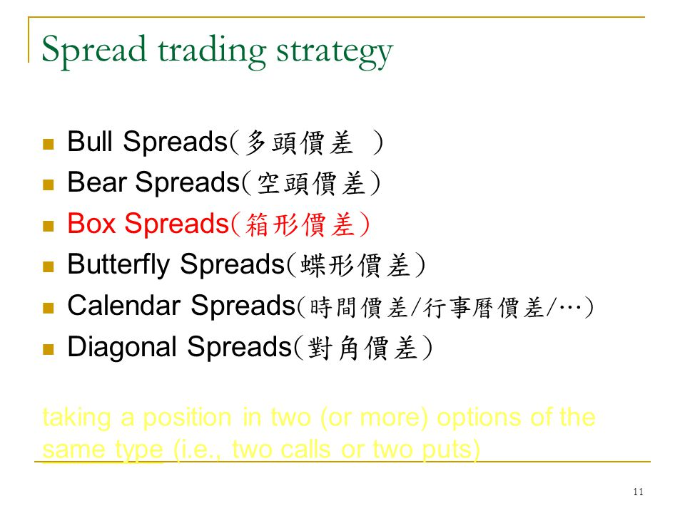 11 Spread trading strategy Bull Spreads (多頭價差 ) Bear Spreads (空頭價差) Box Spreads (箱形價差) Butterfly Spreads (蝶形價差) Calendar Spreads (時間價差/行事曆價差/…) Diagonal Spreads (對角價差) taking a position in two (or more) options of the same type (i.e., two calls or two puts)