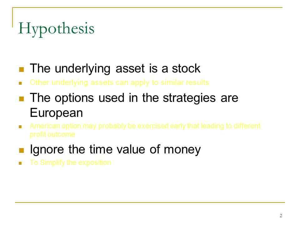 3 Hypothesis Initial cost premium (權利金)-long side margin (保證金)-short side