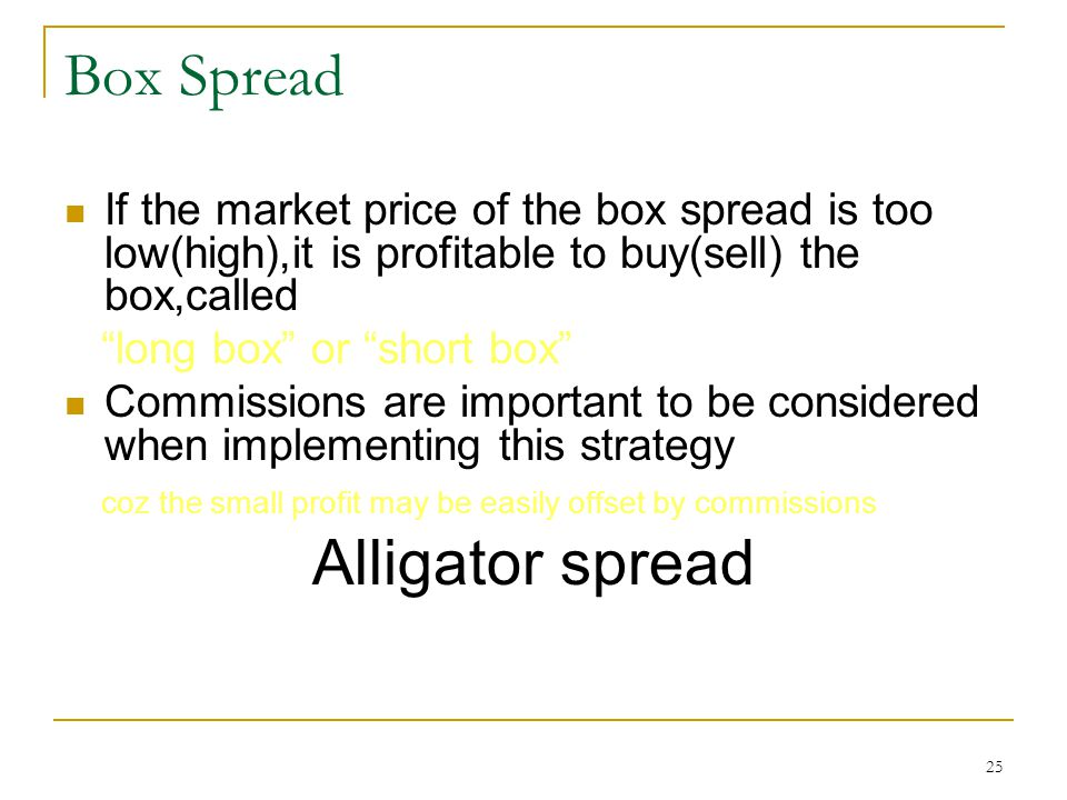 25 Box Spread If the market price of the box spread is too low(high),it is profitable to buy(sell) the box,called long box or short box Commissions are important to be considered when implementing this strategy coz the small profit may be easily offset by commissions Alligator spread