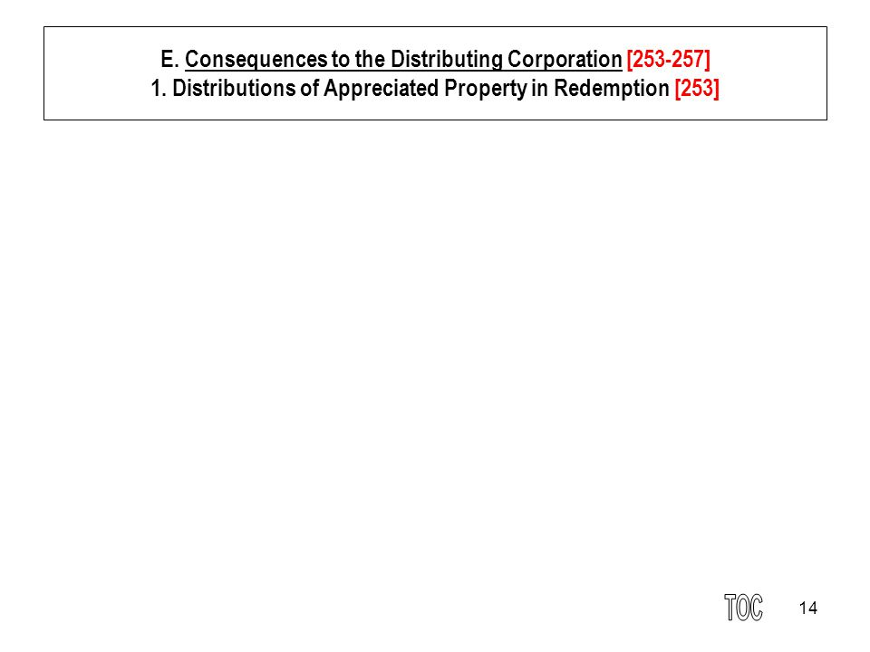 14 E. Consequences to the Distributing Corporation [253-257] 1. Distributions of Appreciated Property in Redemption [253]