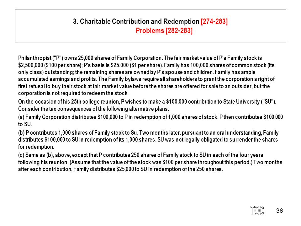 36 3. Charitable Contribution and Redemption [274-283] Problems [282-283] Philanthropist (
