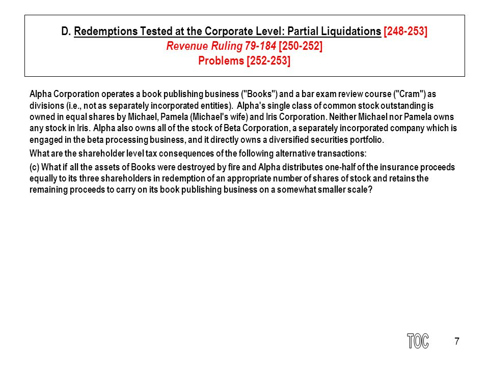 18 E.Consequences to the Distributing Corporation [253-257] 3.