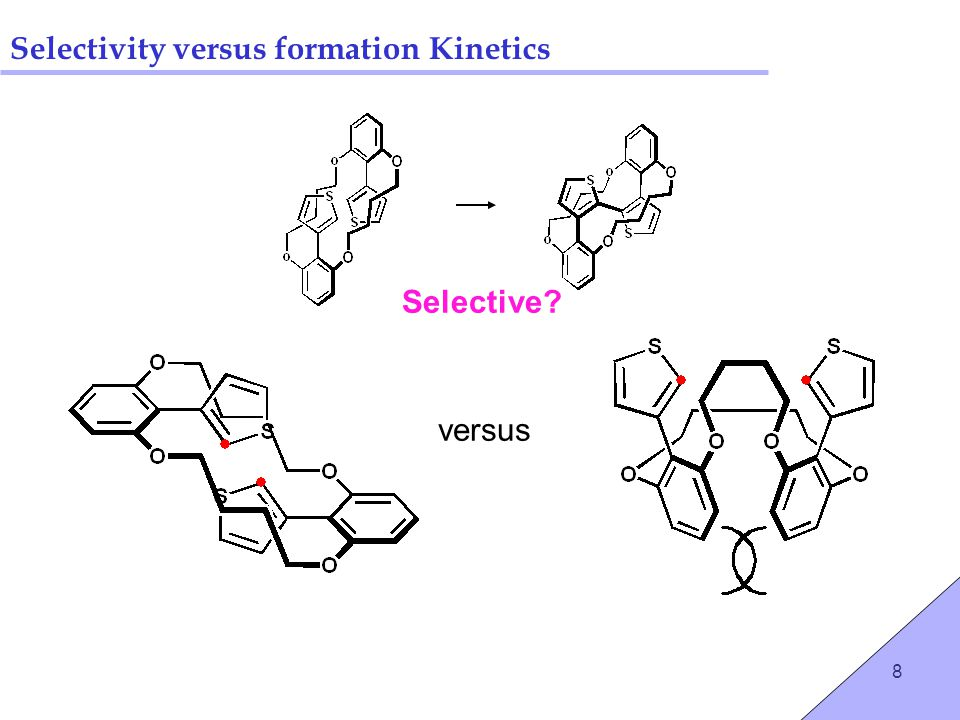9 Selectivity versus formation Kinetics Control selectivity via strap length… C4 C6 C5