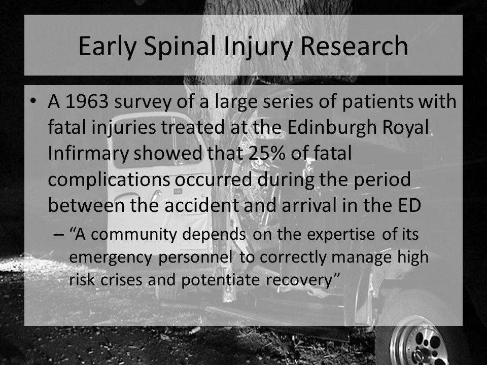 C-Spine imaging in the ED By the late 1980s, physicians realized that some patients with neck pain did not need x- rays to rule out spine injury Several studies showed that patients could be clinically cleared without exposing them to radiation