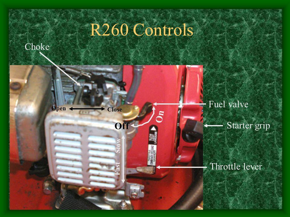 Fuel valve On Throttle lever Choke Open Close Fast Slow Starter grip R260 Controls Off