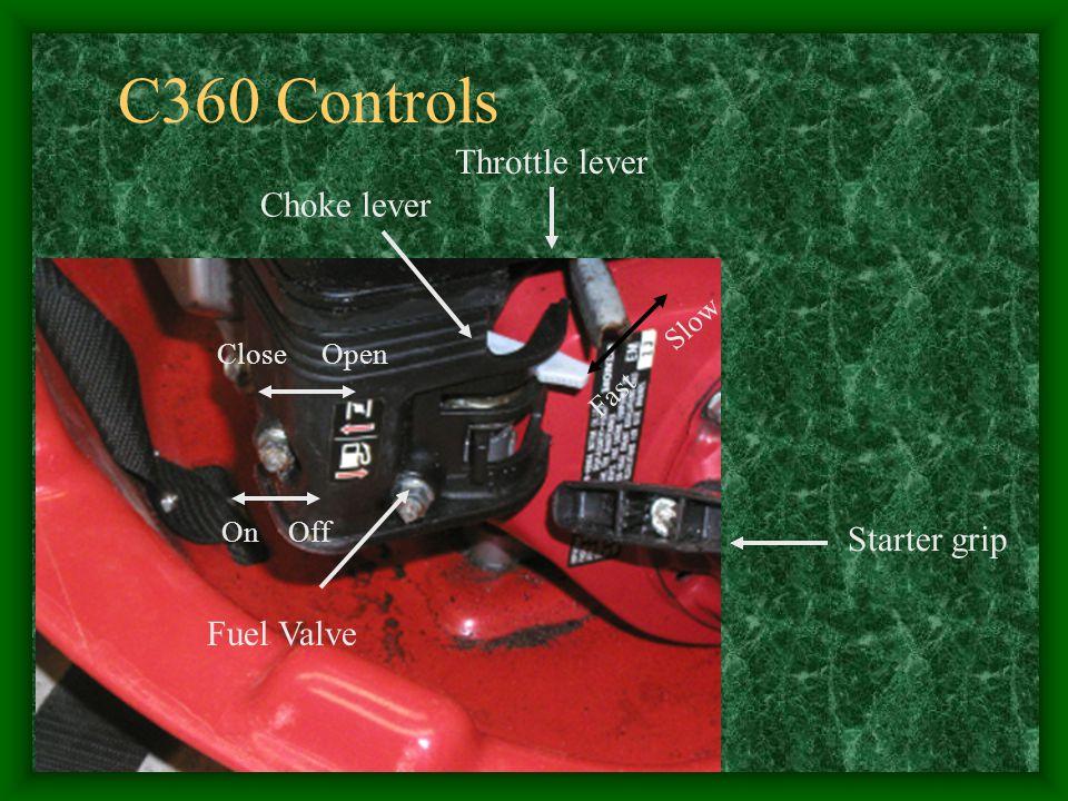 Throttle lever Fast Slow Choke lever Starter grip Fuel Valve On Off Close Open C360 Controls