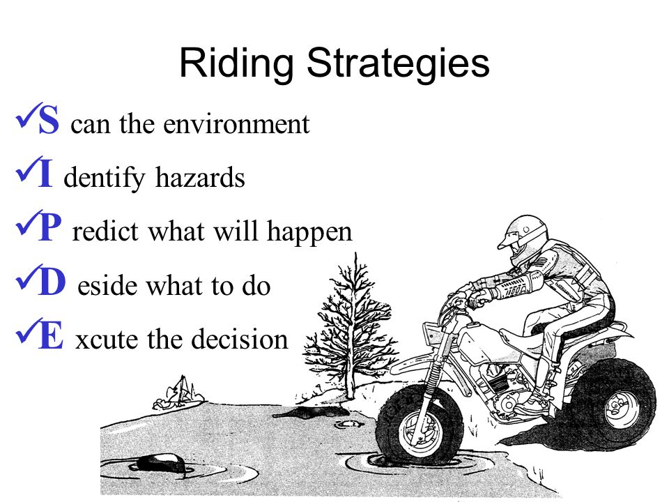 Riding Strategies S can the environment I dentify hazards P redict what will happen D eside what to do E xcute the decision