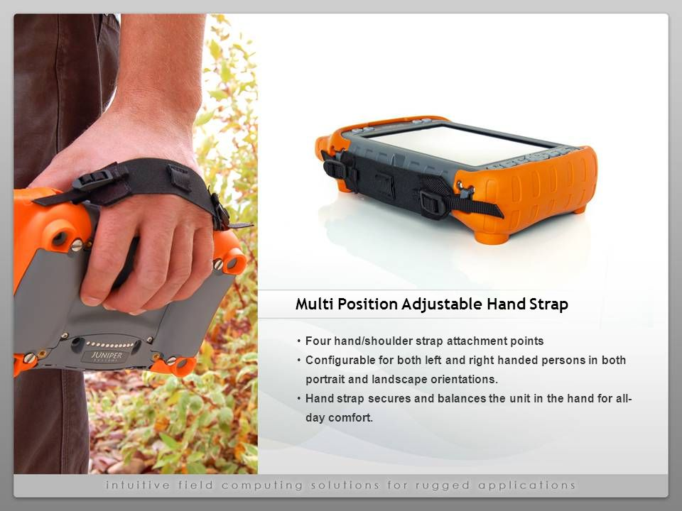 Four hand/shoulder strap attachment points Configurable for both left and right handed persons in both portrait and landscape orientations.