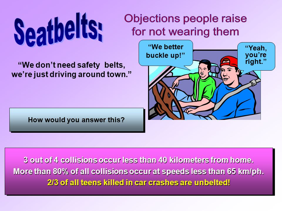 Since safety belts are proven to be very effective… why do some people still not wear them.