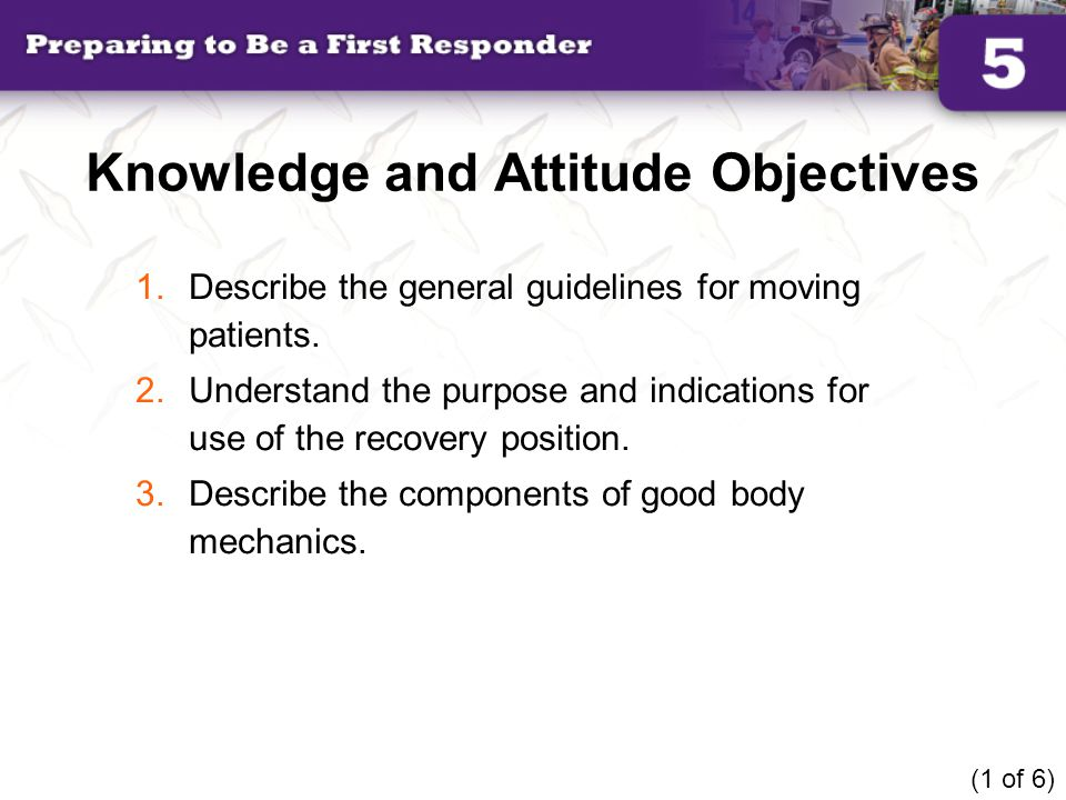 Knowledge and Attitude Objectives 1.Describe the general guidelines for moving patients. 2.Understand the purpose and indications for use of the recov