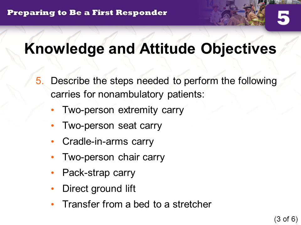 Knowledge and Attitude Objectives 6.Describe the steps needed to perform the following walking assists for ambulatory patients: One-person assist Two-person assist (4 of 6)