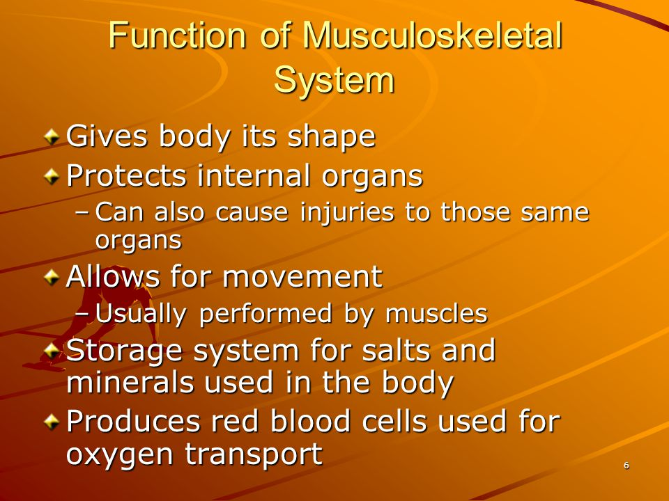 7 Control of Musculoskeletal System Under control of the brain and nervous system Skeletal muscle is voluntary muscle Can be contracted and relaxed at the will of the individual –Walking, sitting –Swallowing, smiling –Talking –Performing activities of daily living