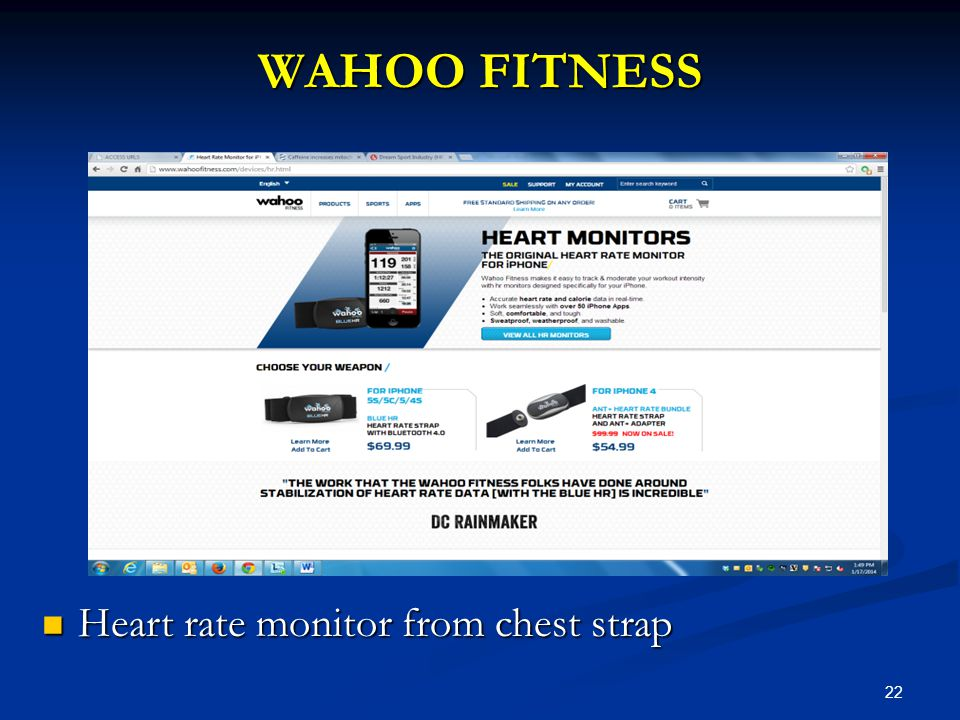 22 WAHOO FITNESS Heart rate monitor from chest strap Heart rate monitor from chest strap
