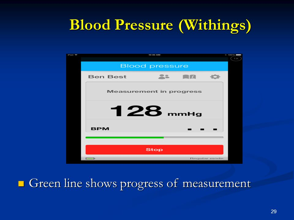 29 Blood Pressure (Withings) Blood Pressure (Withings) Green line shows progress of measurement Green line shows progress of measurement