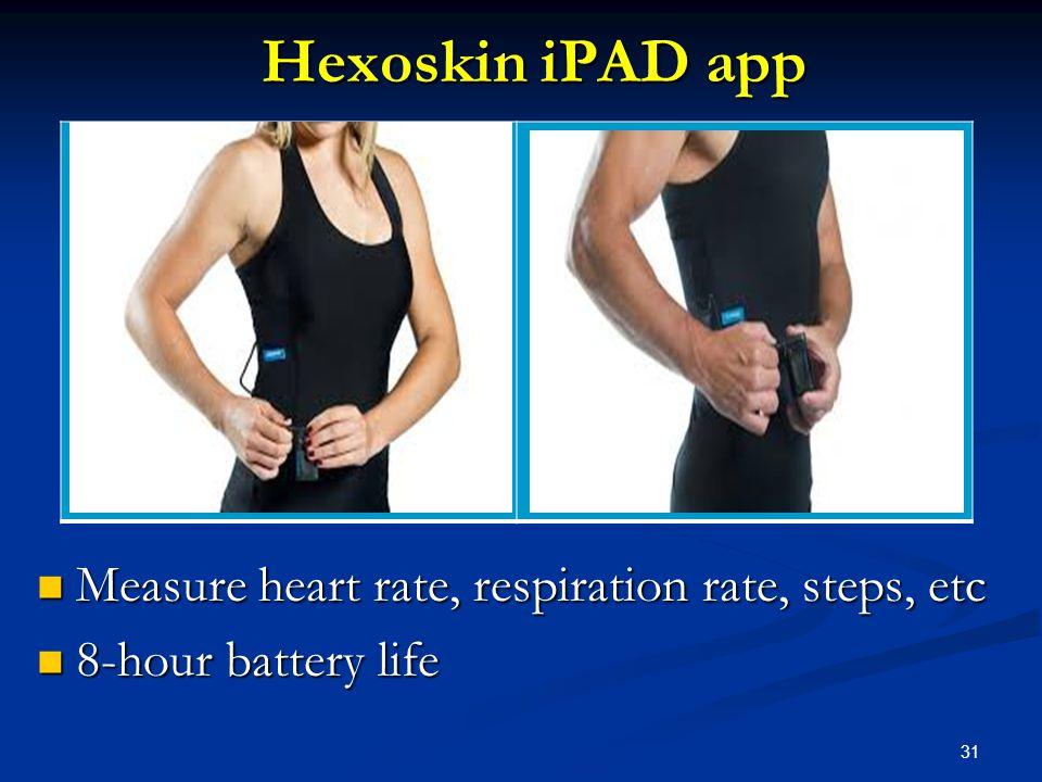 31 Hexoskin iPAD app Measure heart rate, respiration rate, steps, etc Measure heart rate, respiration rate, steps, etc 8-hour battery life 8-hour batt