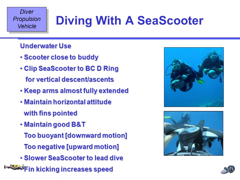 Diving Equipment & Diving Signals OT2 9 08/02 Diving With A SeaScooter Diver Propulsion Vehicle Underwater Use Scooter close to buddy Scooter close to
