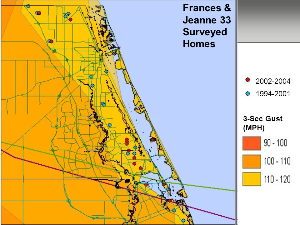 Frances and Jeanne Frances & Jeanne 33 Surveyed Homes 2002-2004 1994-2001 3-Sec Gust (MPH)