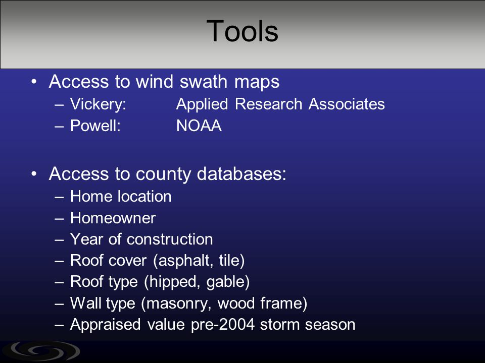 Tools Access to wind swath maps –Vickery: Applied Research Associates –Powell: NOAA Access to county databases: –Home location –Homeowner –Year of con