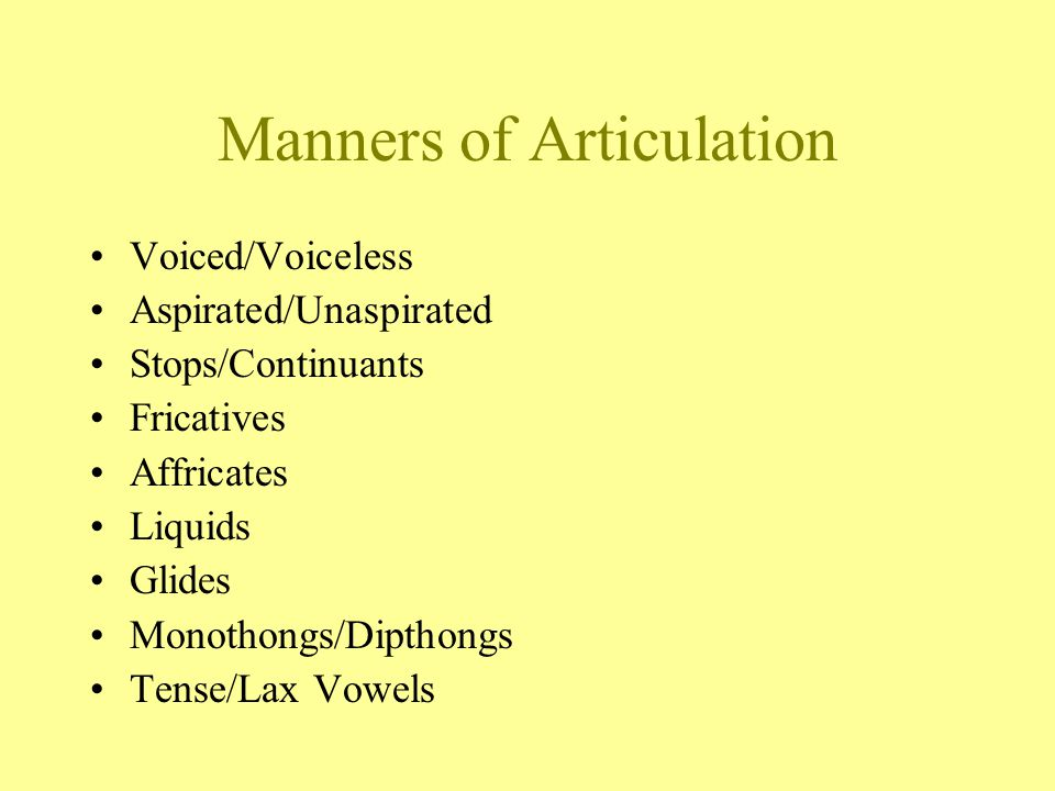 Manners of Articulation Voiced/Voiceless Aspirated/Unaspirated Stops/Continuants Fricatives Affricates Liquids Glides Monothongs/Dipthongs Tense/Lax Vowels