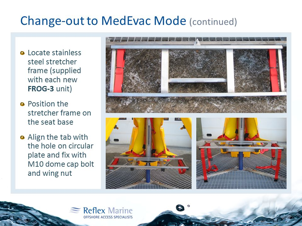 Change-out to MedEvac Mode (continued) Locate stainless steel stretcher frame (supplied with each new FROG-3 unit) Position the stretcher frame on the seat base Align the tab with the hole on circular plate and fix with M10 dome cap bolt and wing nut