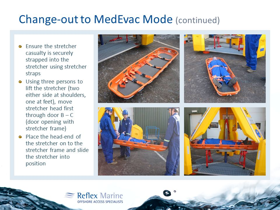 Change-out to MedEvac Mode (continued) Ensure the stretcher casualty is securely strapped into the stretcher using stretcher straps Using three persons to lift the stretcher (two either side at shoulders, one at feet), move stretcher head first through door B – C (door opening with stretcher frame) Place the head-end of the stretcher on to the stretcher frame and slide the stretcher into position