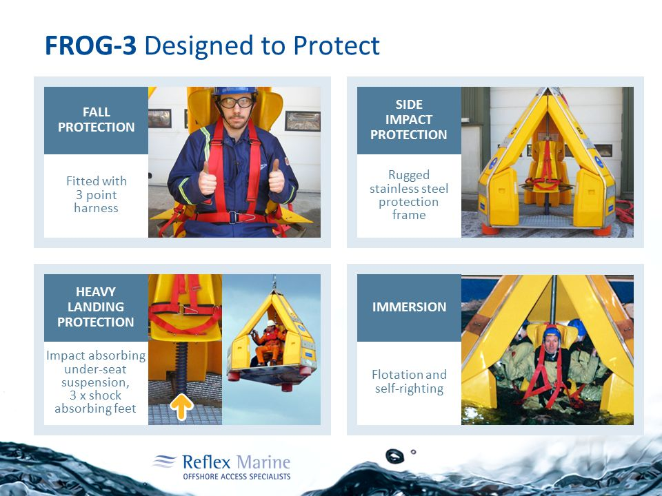 FROG-3 Designed to Protect FALL PROTECTION IMMERSION HEAVY LANDING PROTECTION SIDE IMPACT PROTECTION Fitted with 3 point harness Impact absorbing unde