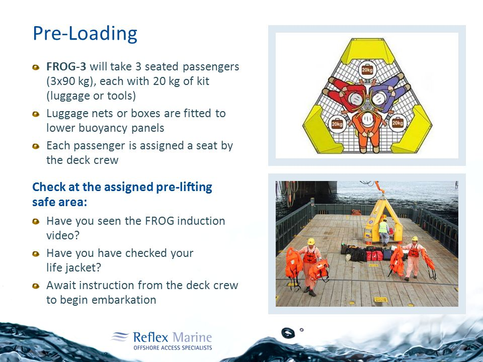 Pre-Loading FROG-3 will take 3 seated passengers (3x90 kg), each with 20 kg of kit (luggage or tools) Luggage nets or boxes are fitted to lower buoyancy panels Each passenger is assigned a seat by the deck crew Check at the assigned pre-lifting safe area: Have you seen the FROG induction video.
