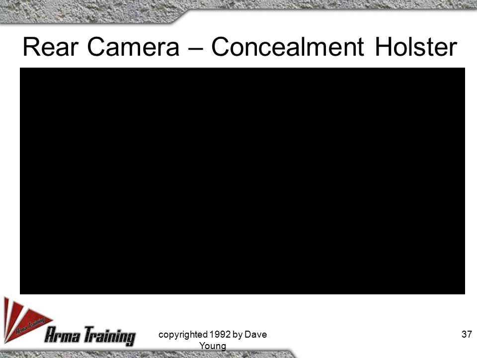 Rear Camera – Concealment Holster copyrighted 1992 by Dave Young 37