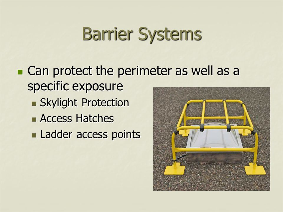 Barrier Systems Can protect the perimeter as well as a specific exposure Can protect the perimeter as well as a specific exposure Skylight Protection Skylight Protection Access Hatches Access Hatches Ladder access points Ladder access points