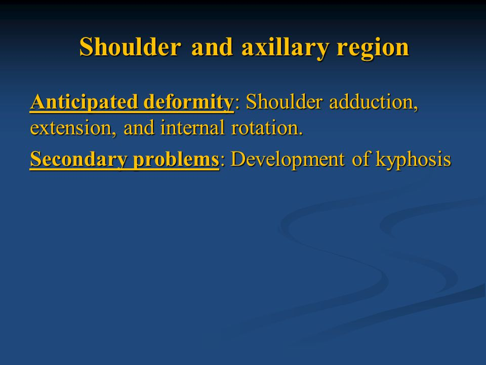 Axillary or air plane splint used to position the shoulder in 90 degree