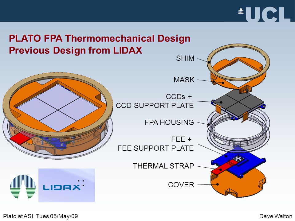 Plato at ASI Tues 05/May/09Dave Walton PLATO FPA Thermomechanical Design Previous Design from LIDAX MASK SHIM CCDs + CCD SUPPORT PLATE FPA HOUSING FEE + FEE SUPPORT PLATE COVER THERMAL STRAP