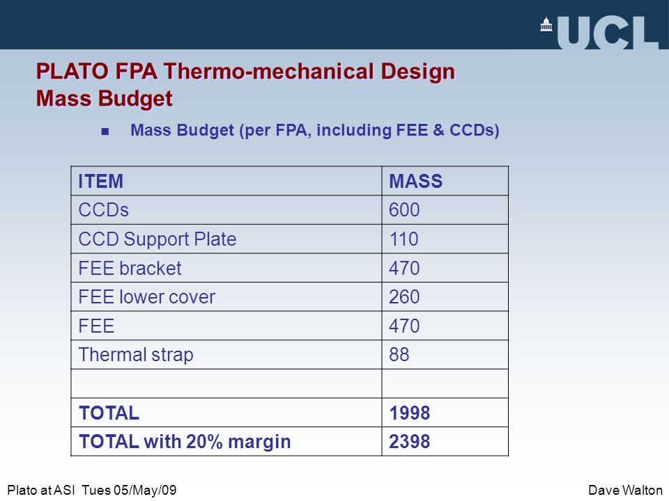 Plato at ASI Tues 05/May/09Dave Walton PLATO FPA Thermo-mechanical Design Mass Budget Mass Budget (per FPA, including FEE & CCDs) ITEMMASS CCDs600 CCD Support Plate110 FEE bracket470 FEE lower cover260 FEE470 Thermal strap88 TOTAL1998 TOTAL with 20% margin2398